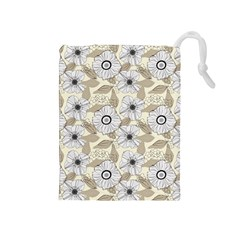Flower Rose Sunflower Gray Star Drawstring Pouches (medium)