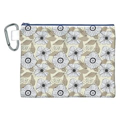 Flower Rose Sunflower Gray Star Canvas Cosmetic Bag (xxl)