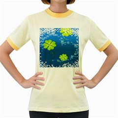 Flower Shamrock Green Blue Sexy Women s Fitted Ringer T Shirts