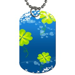 Flower Shamrock Green Blue Sexy Dog Tag (one Side)