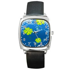 Flower Shamrock Green Blue Sexy Square Metal Watch