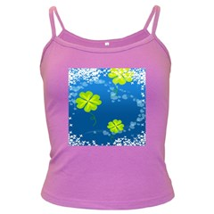 Flower Shamrock Green Blue Sexy Dark Spaghetti Tank