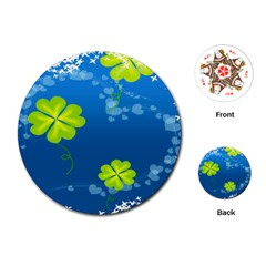 Flower Shamrock Green Blue Sexy Playing Cards (round)