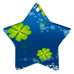 Flower Shamrock Green Blue Sexy Star Ornament (two Sides)