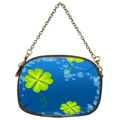 Flower Shamrock Green Blue Sexy Chain Purses (two Sides)