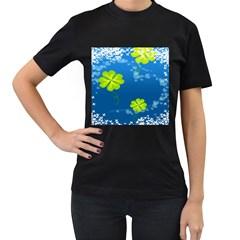 Flower Shamrock Green Blue Sexy Women s T Shirt (black)