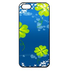 Flower Shamrock Green Blue Sexy Apple Iphone 5 Seamless Case (black)