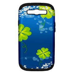 Flower Shamrock Green Blue Sexy Samsung Galaxy S Iii Hardshell Case (pc+silicone)