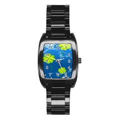Flower Shamrock Green Blue Sexy Stainless Steel Barrel Watch