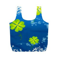 Flower Shamrock Green Blue Sexy Full Print Recycle Bags (m)