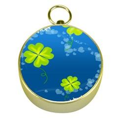 Flower Shamrock Green Blue Sexy Gold Compasses