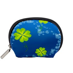 Flower Shamrock Green Blue Sexy Accessory Pouches (small)