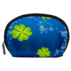 Flower Shamrock Green Blue Sexy Accessory Pouches (large)