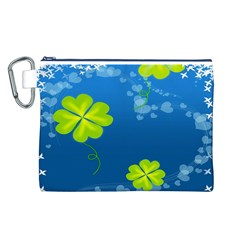 Flower Shamrock Green Blue Sexy Canvas Cosmetic Bag (l)
