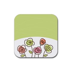 Flower Simple Green Rose Sunflower Sexy Rubber Square Coaster (4 Pack)