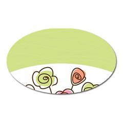 Flower Simple Green Rose Sunflower Sexy Oval Magnet