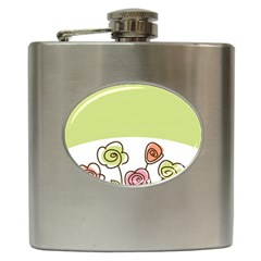 Flower Simple Green Rose Sunflower Sexy Hip Flask (6 Oz)