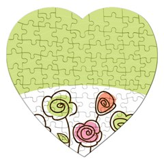 Flower Simple Green Rose Sunflower Sexy Jigsaw Puzzle (heart)
