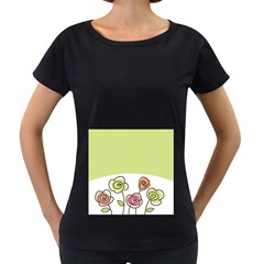 Flower Simple Green Rose Sunflower Sexy Women s Loose Fit T Shirt (black)