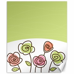 Flower Simple Green Rose Sunflower Sexy Canvas 8  X 10