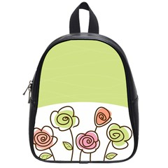 Flower Simple Green Rose Sunflower Sexy School Bag (small)