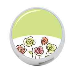 Flower Simple Green Rose Sunflower Sexy 4 Port Usb Hub (two Sides)