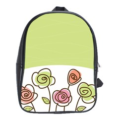 Flower Simple Green Rose Sunflower Sexy School Bag (xl)