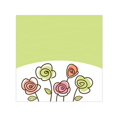 Flower Simple Green Rose Sunflower Sexy Small Satin Scarf (square)