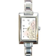 Flower Simple Pink Rectangle Italian Charm Watch