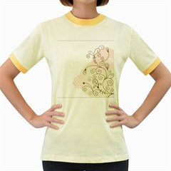 Flower Simple Pink Women s Fitted Ringer T Shirts
