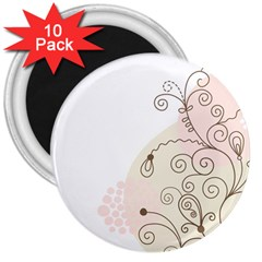Flower Simple Pink 3  Magnets (10 Pack)