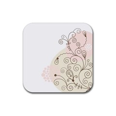 Flower Simple Pink Rubber Square Coaster (4 Pack)