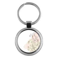 Flower Simple Pink Key Chains (round)