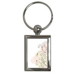 Flower Simple Pink Key Chains (rectangle)