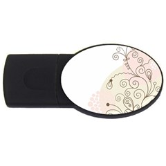 Flower Simple Pink Usb Flash Drive Oval (2 Gb)