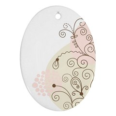 Flower Simple Pink Oval Ornament (two Sides)