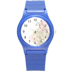 Flower Simple Pink Round Plastic Sport Watch (s)
