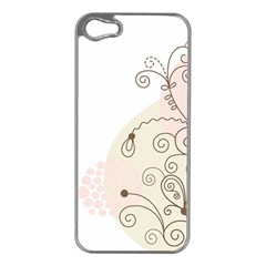 Flower Simple Pink Apple Iphone 5 Case (silver)