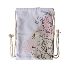 Flower Simple Pink Drawstring Bag (small)