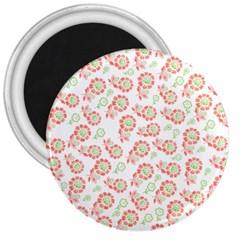 Flower Rose Red Green Sunflower Star 3  Magnets
