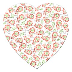 Flower Rose Red Green Sunflower Star Jigsaw Puzzle (heart)
