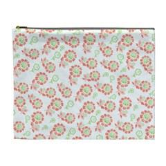 Flower Rose Red Green Sunflower Star Cosmetic Bag (xl)