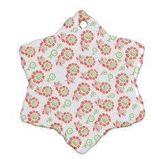 Flower Rose Red Green Sunflower Star Snowflake Ornament (two Sides)