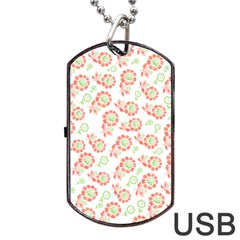 Flower Rose Red Green Sunflower Star Dog Tag Usb Flash (two Sides)