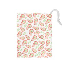 Flower Rose Red Green Sunflower Star Drawstring Pouches (medium)