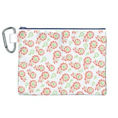 Flower Rose Red Green Sunflower Star Canvas Cosmetic Bag (xl)