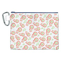 Flower Rose Red Green Sunflower Star Canvas Cosmetic Bag (xxl)