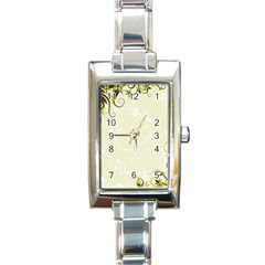 Flower Star Floral Green Camuflage Leaf Frame Rectangle Italian Charm Watch