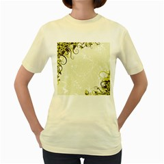 Flower Star Floral Green Camuflage Leaf Frame Women s Yellow T Shirt