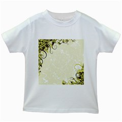 Flower Star Floral Green Camuflage Leaf Frame Kids White T Shirts
